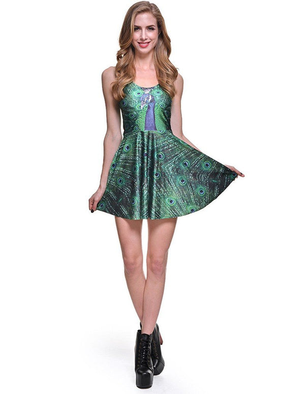 Peacock Feathers Print Sleeveless Short Skater Dress