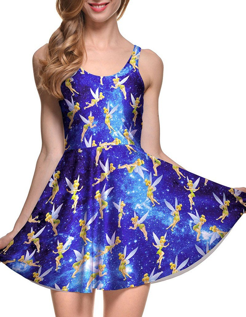 Tinker Bell Prints Sleeveless Short Skater Dress Blue