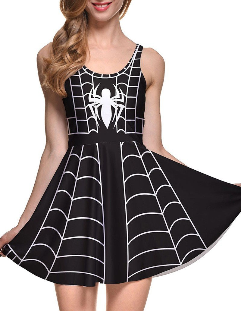 Spider Web Print Sleeveless Short Skater Dress Black