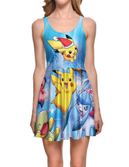 Pretty Pikachu Pokemon Pocket Monsters Prints Skater Dress