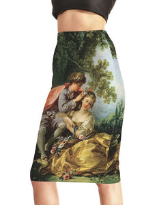 Mozart Chamber Music Cover Print Pencil Skirt
