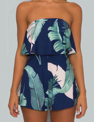 Tropical Tree Leaf Print Off Shoulder Summer Romper With Frill Details