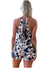 Tropical Print Lace Up Neck Sleeveless Summer Beach Romper