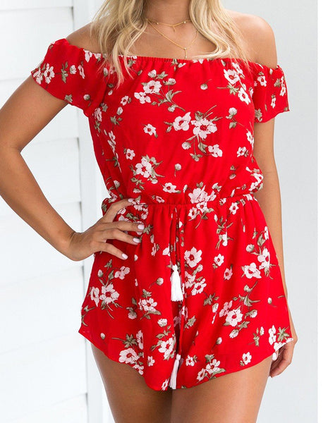 Floral Prints Off Shoulder Rope Waist Red Summer Casual Beach Romper