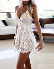 Plunge Criss Cross Strappy Back Crochet Lace Overlay Cami Romper White
