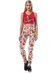 Christmas Tree Cupcake Gingerbread Man Print Sport Suit Two Sets