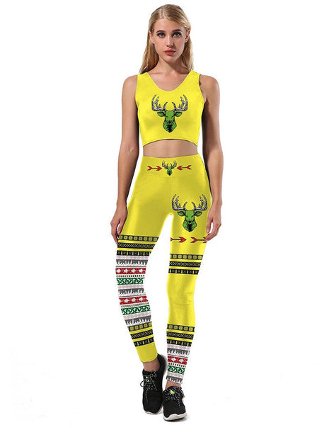 Reindeer Head Christmas Elements Print Two Sets Jumpsuit Sport Suit