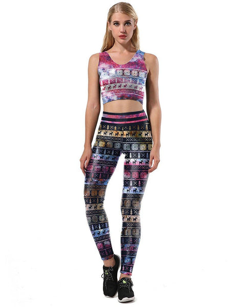 Christmas Elements In Galaxy Nebula Print Two Sets Jumpsuit Sport Suit