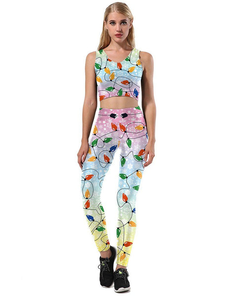 Christmas Colorful Lights Print Tank Sport Suit Two Sets Jumpsuit