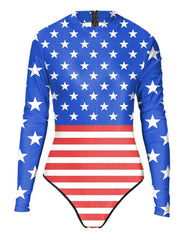 American Flag Star And Stripes Print Womens Long Sleeve Swimwear
