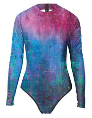 Deep Shipwreck Rash Guard Surf Suit Purple Blue One Piece Swimwear