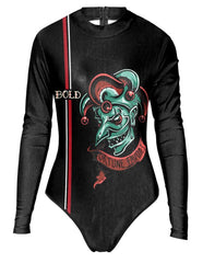 Fortune Favors The Bold Jester Joker Surf Suit One Piece Swimsuit