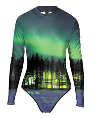 Forest Morning Rashguard Surf Suit Womens Green One Piece Swimwear
