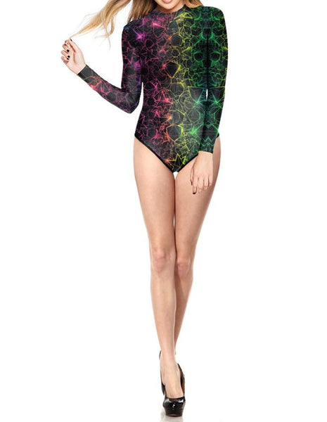 Womens Surf Suit Rashguard Colorful Geometric Lines One Piece Swimsuit