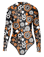 Womens Abstract Floral Prints Rash Guard Surf Suit one Piece Swimwear