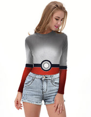 Pokemon Go Poke Ball Long Sleeve One Piece Rash Guard Swimwear