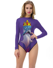 Adventure Time Ice King Long Sleeve One Piece Rashguard Swimwear