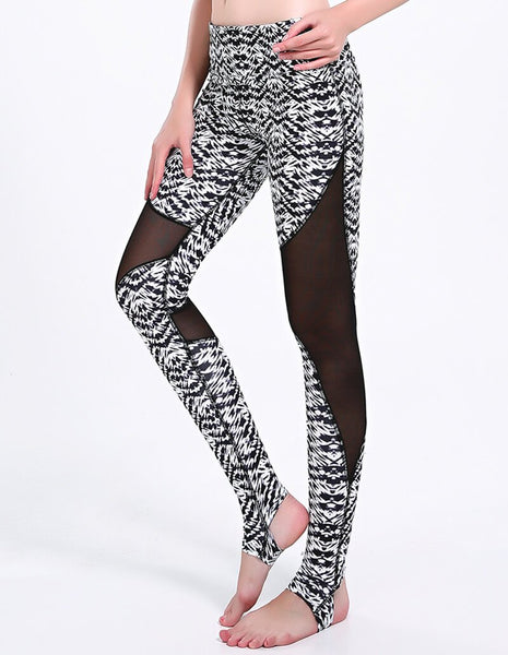 Abstract Tribal Print Black And White Mesh Insert Stirrup Gym Leggings