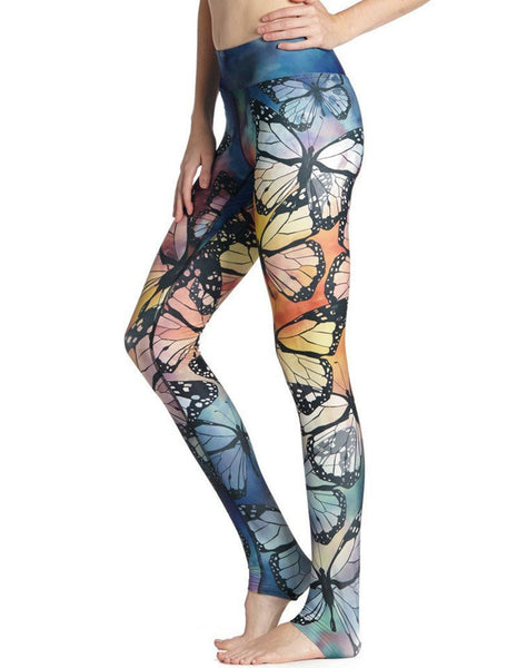 Colorful Butterfly Print Tight Stretchy Workout Yoga Leggings