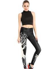 Chic Black Wishing Tree Print Breathable Running Yoga Workout Leggings