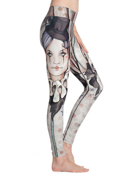 Womens Circus Print Breathable Stretchy Workout Yoga Running Leggings