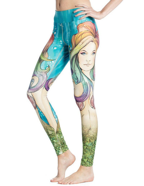 Womens Mermaid Face Themed Print Cute Stretchy Workout Yoga Leggings