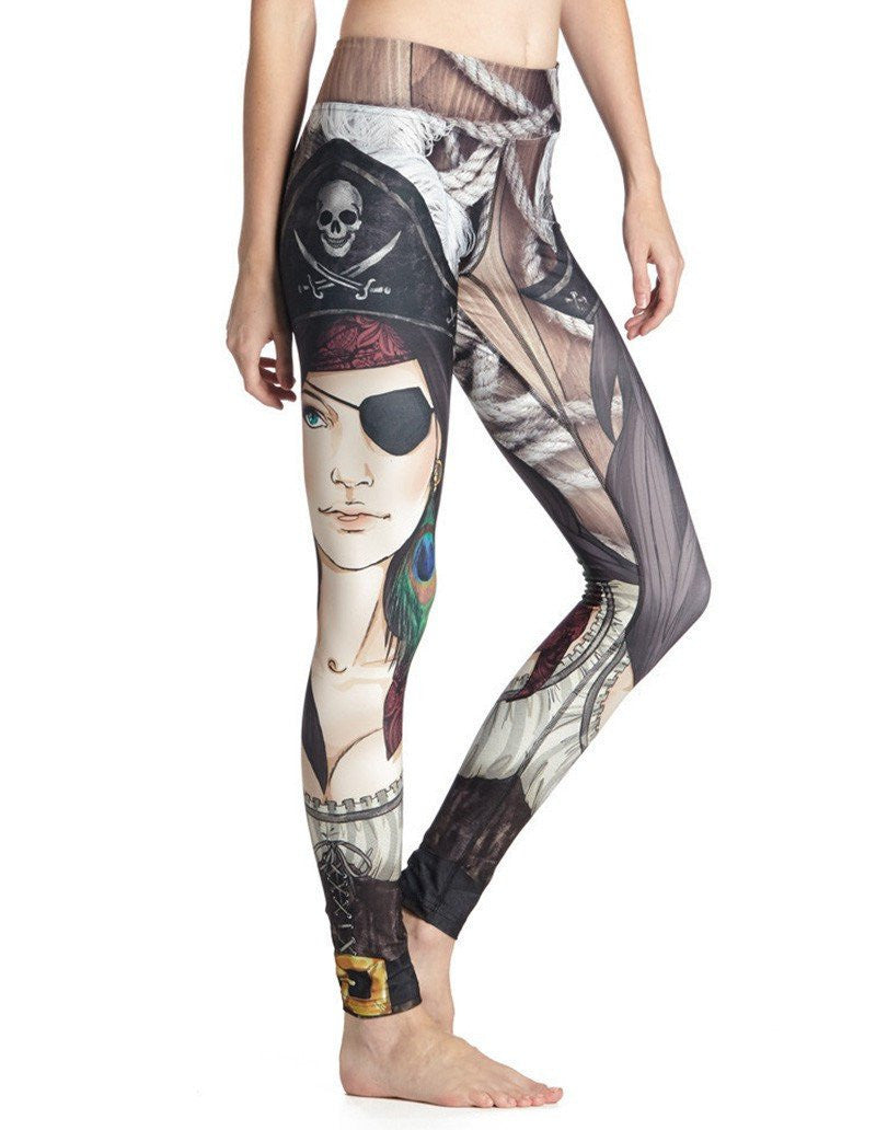 Womens The One-Eyed Pirates Print Cool Workout Running Yoga Leggings