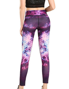 Purple Starry Galaxy Print Breathable Workout Running Yoga Leggings