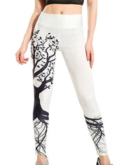 Womens Chic Wishing Tree Print White Breathable Workout Yoga Leggings
