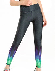 Womens Sassy Fluorescence Green Galaxy Stretchy Workout Yoga Leggings