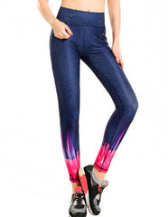 Fluorescence Tie Dye Pink Navy Galaxy Print Womens Workout Leggings