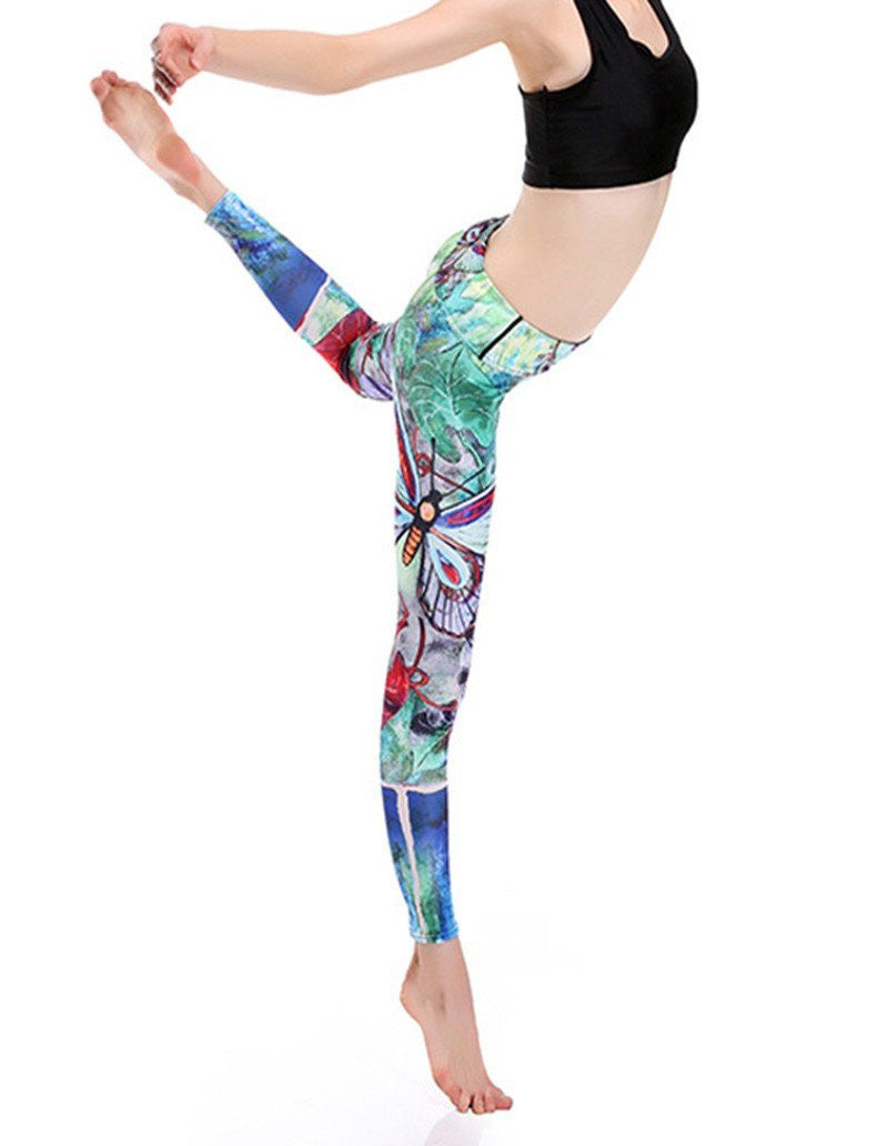 Sexy Colorful Butterfly Print Breathable Womens Yoga Running Leggings