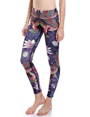 Dragonfly Bird And Lotus Print Stretchy Quick-Dry Womens Yoga Leggings