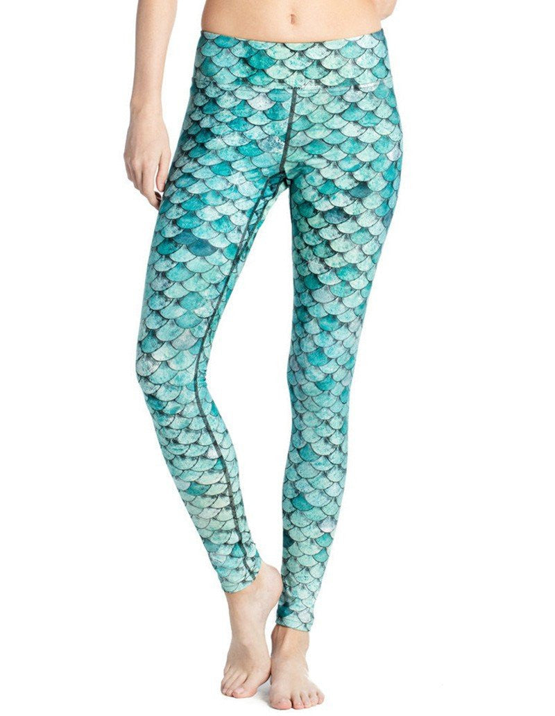 Sexy Blue Fish Scale Print Stretchy Breathable Womens Yoga Leggings