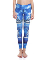 Fashion Dolphin Printed Stretchy Breathable Quick-Dry Workout Leggings