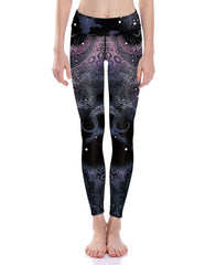 Black Octopus Print Breathable Womens Stretchy Workout Yoga Leggings