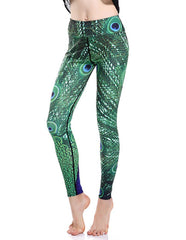 Peacock Feather Print Breathing Stretchy Womens Workout Yoga Leggings