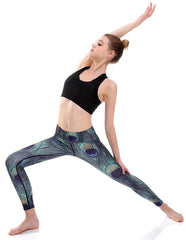 Peacock Feathers Print Breathable Stretchy Yoga Workout Leggings