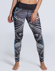 Womens Striped Polka Dot Print Slimming Workout Yoga Tights Leggings