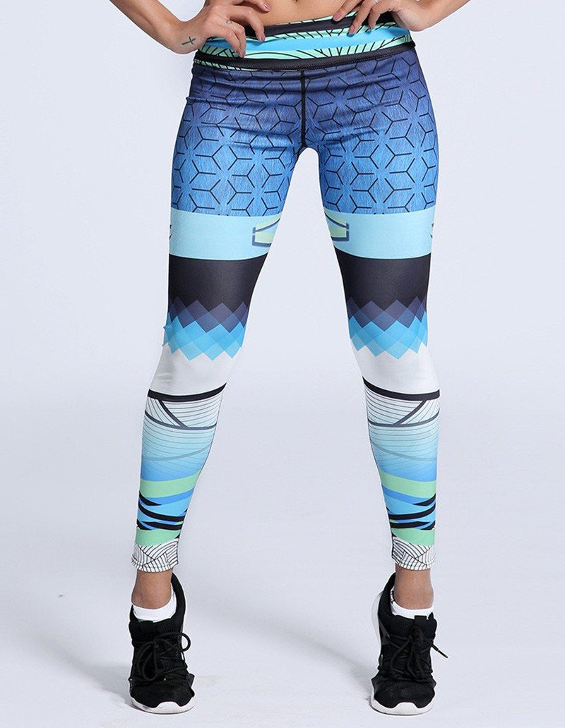 Fashion Blue Mixed Geo Printed Workout Yoga Tights Leggings For Women