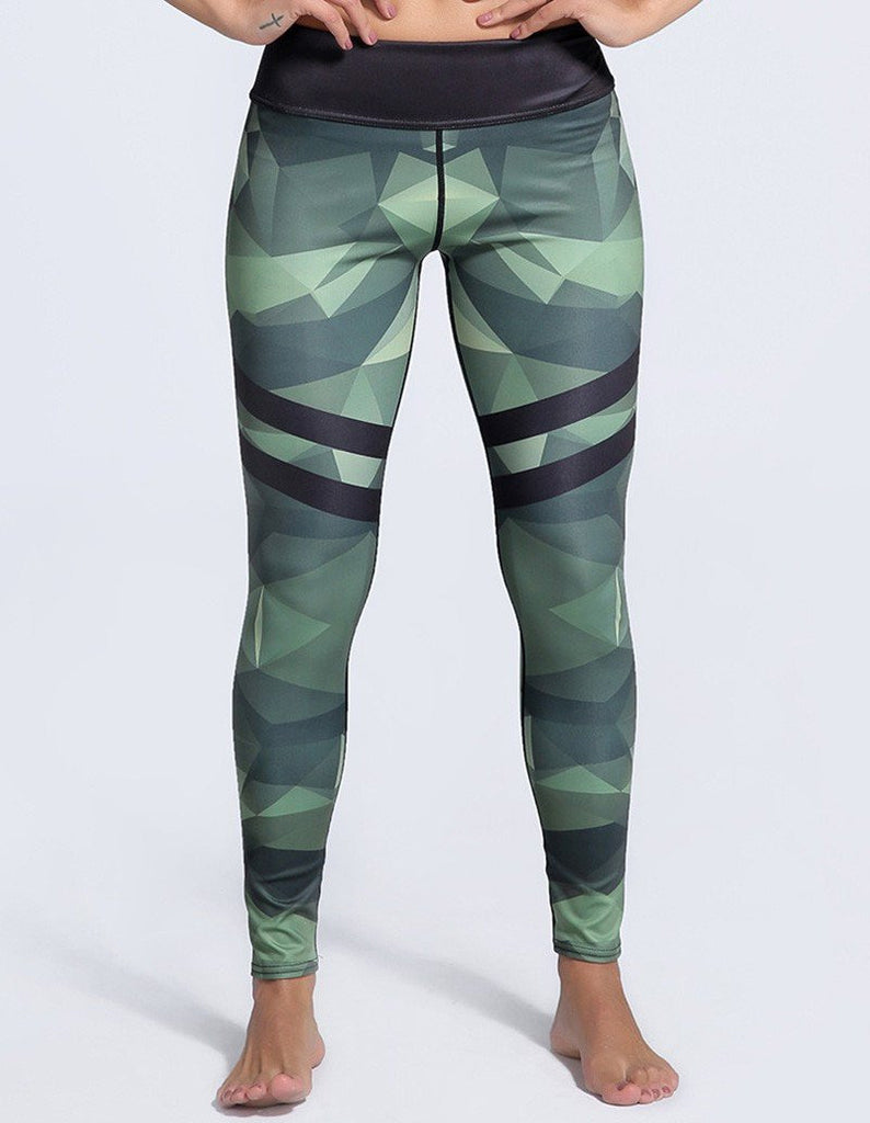 Cool Striped Camouflage Printed Tights Yoga Workout Womens Leggings