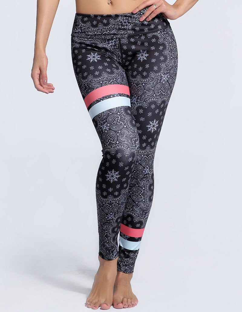 Womens Chic Floral Paisley Print Elastic Waistband Workout Leggings