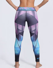 Professional Striped Color block Geo Printed Tights Workout Leggings