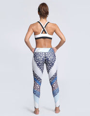 Striped Printed Elastic Waistband Tights Workout Yoga Womens Leggings
