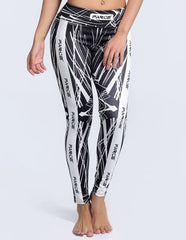 Slimming Farce Lines Printed Tights Workout Yoga Leggings For Women