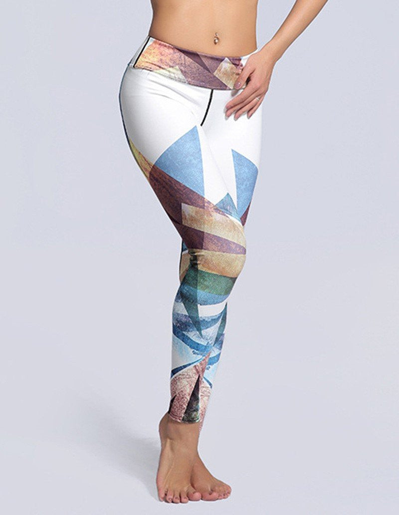 Womens Color block Geo Print Breathing Tights Yoga Workout Leggings