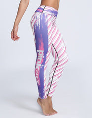 Womens Cute Pink Farce Letters Print Breathing Tight Workout Leggings