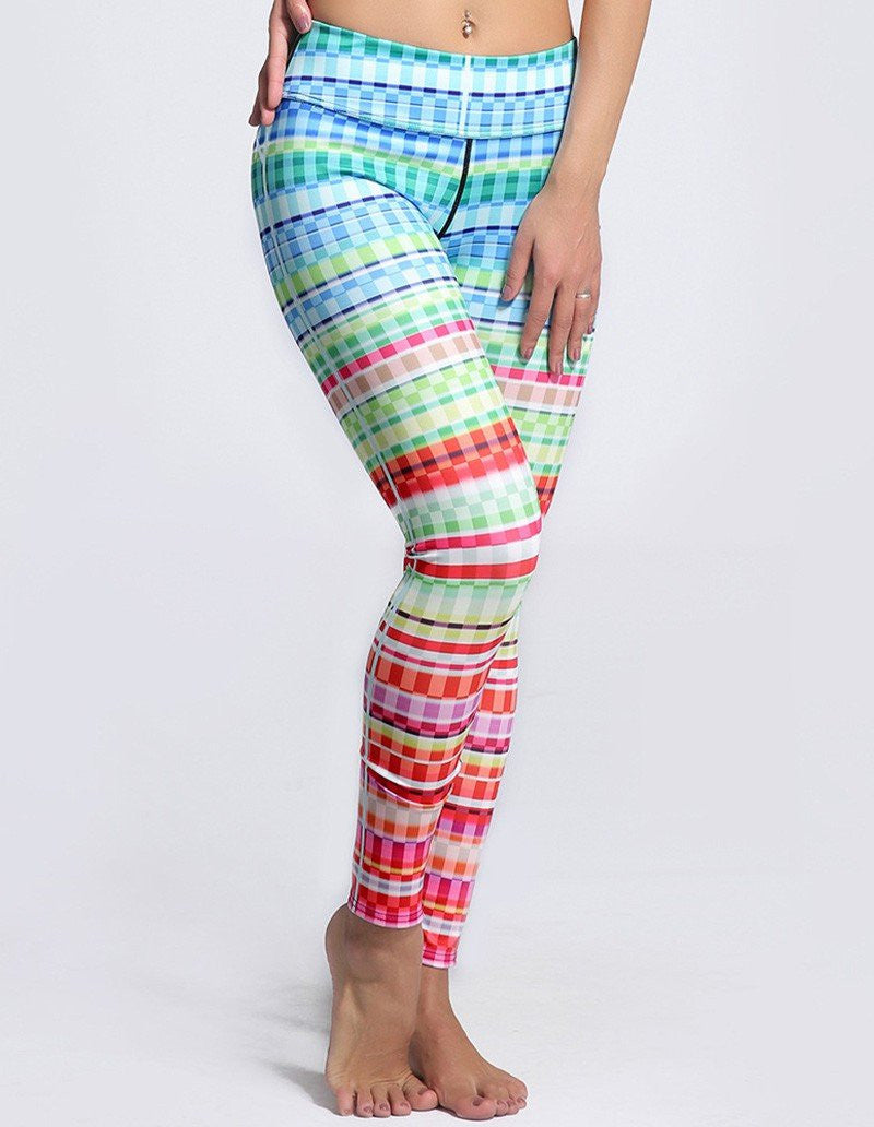 Womens Cute Colorful Plaid Printed Tights Workout Yoga Leggings
