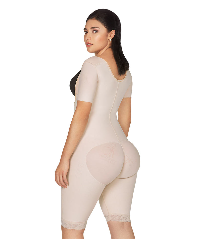 Faja Colombiana Knee Bodysuit, Abdomen Control & Butt Lifter. Waist Definition 3 Hooks (Ref. O-204 )