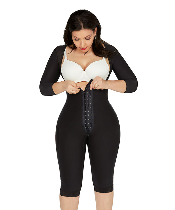 Open Bust Bodysuit Knee Length - Long Sleeves - Center Clasps - Perineal Zipper - black (Ref. O-225)